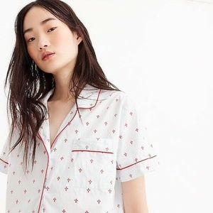 J. Crew Vintage Pajama Top XS Fleur De Lis Red